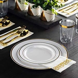 110 White and Gold Wedding Plates
